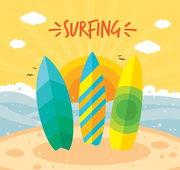 Color sea surfing Board Vector AI