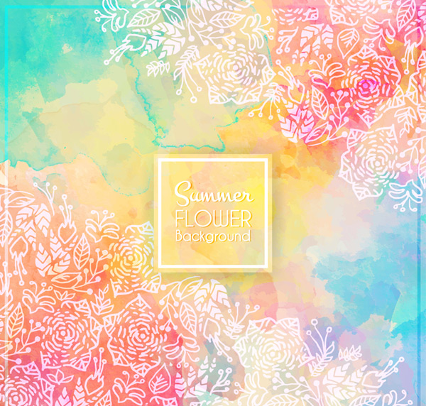 Color summer flower background Vector AI