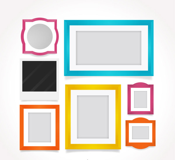 Colored blank photo frame vector