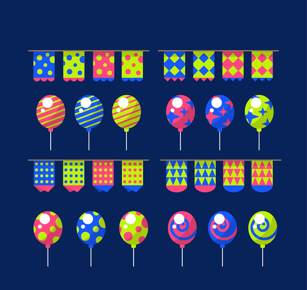 Colored flags and balloons Vector AI
