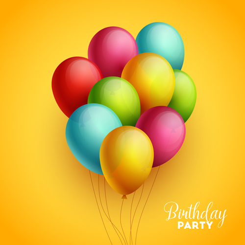 Colorful Birthday balloons Vector EPS 03