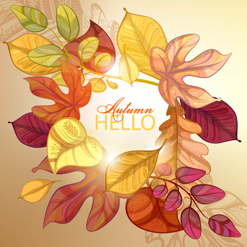 Combination leaves border background Vector EPS 01