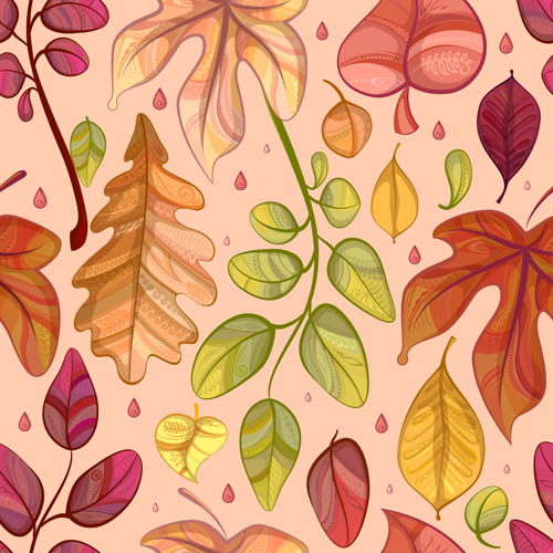 Combination leaves border background Vector EPS