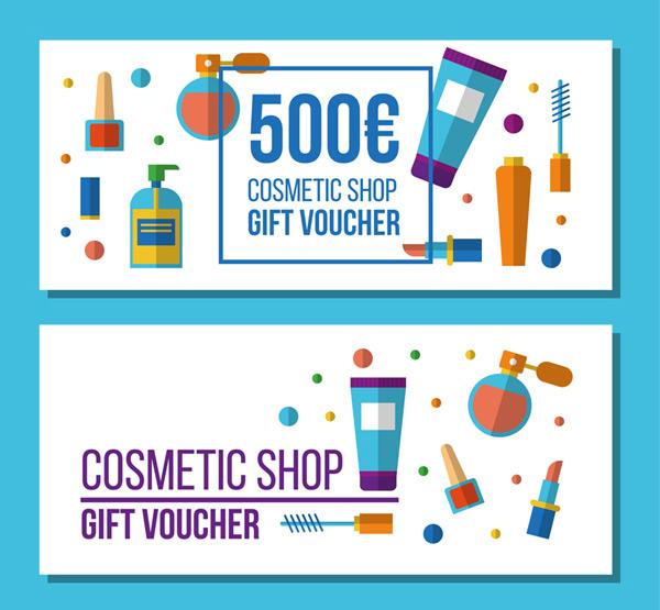 Cosmetics Shop gift vouchers Vector AI