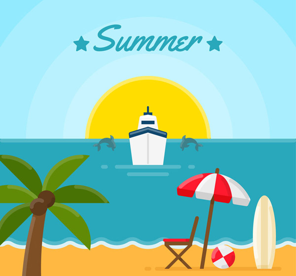 Cruise and beach scenery Vector AI