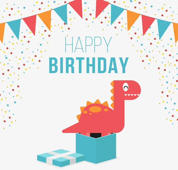 Cute dinosaur birthday cards Vector AI
