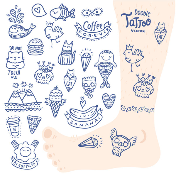 Cute tattoo designs vector