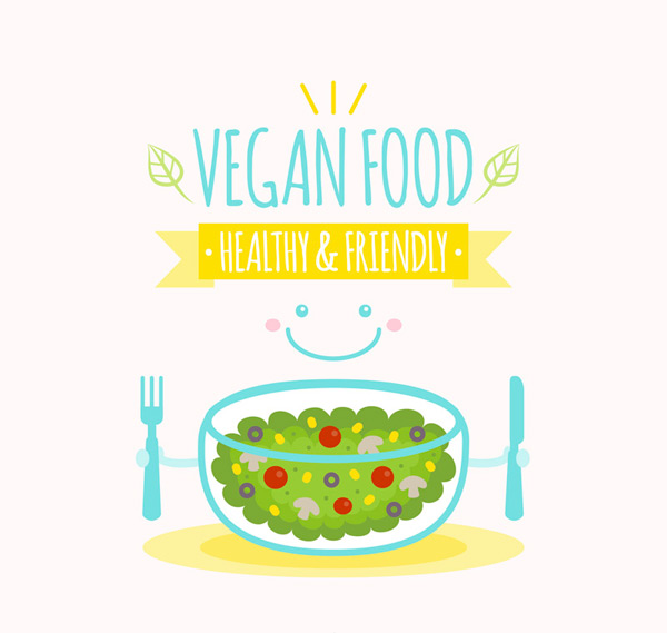 Cute vegan food poster Vector AI