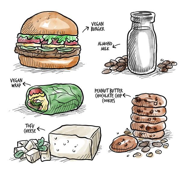 Delicious vegetarian food Vector AI