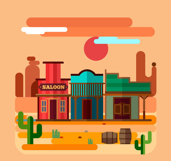 Desert and commercial landscape Vector AI
