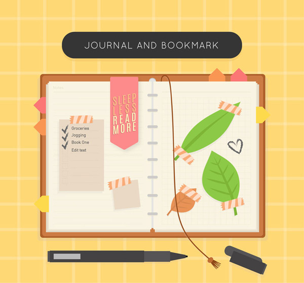 Diary and bookmark Vector AI