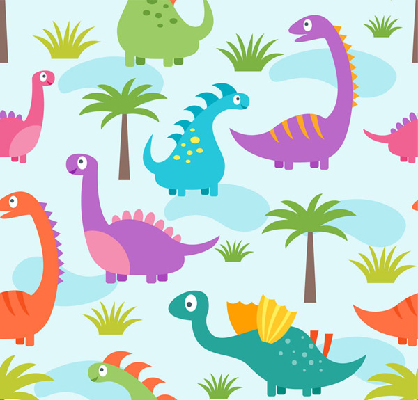 Dinosaur and plant background Vector AI