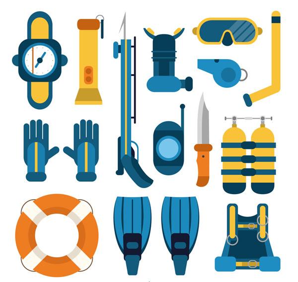 Diving equipment elements Vector AI