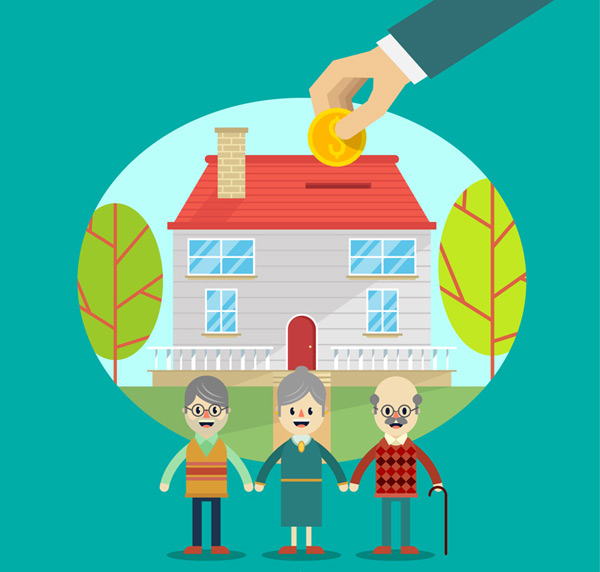 Elderly charity illustration vector