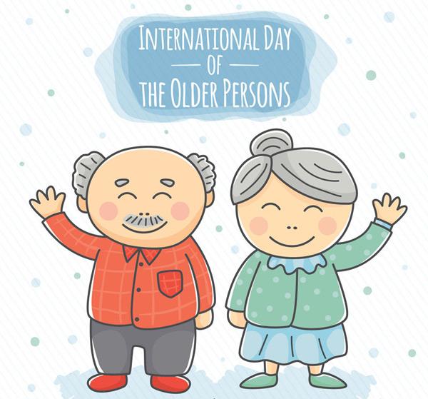 Elderly couple waving Vector AI