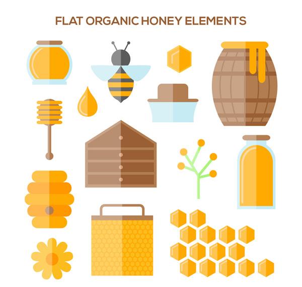 Elements of organic honey Vector AI