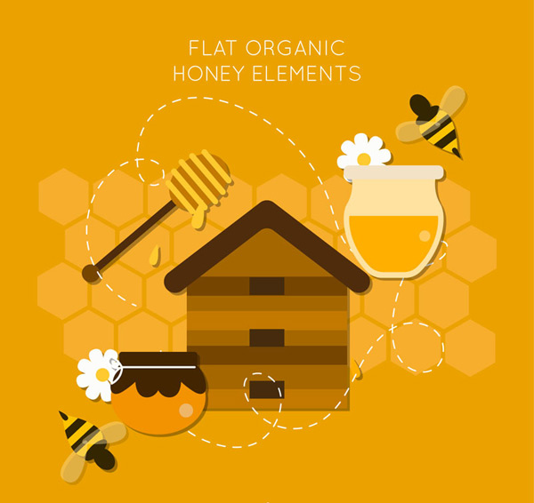 Exquisite honey elements Vector AI