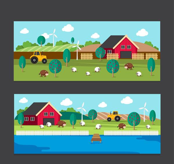 Farm landscape banner Vector AI