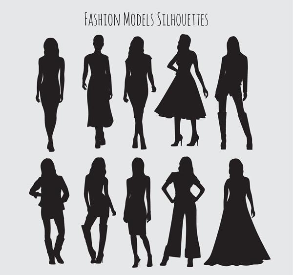 Fashion girl silhouette Vector AI