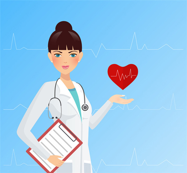 Female doctor and ECG Vector AI