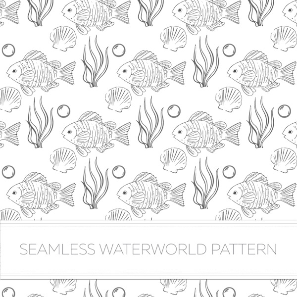 Fish and aquatic plants for seamless background Vector AI