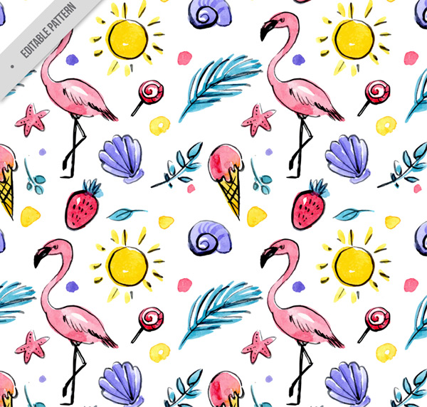 Flamingo seamless background Vector AI