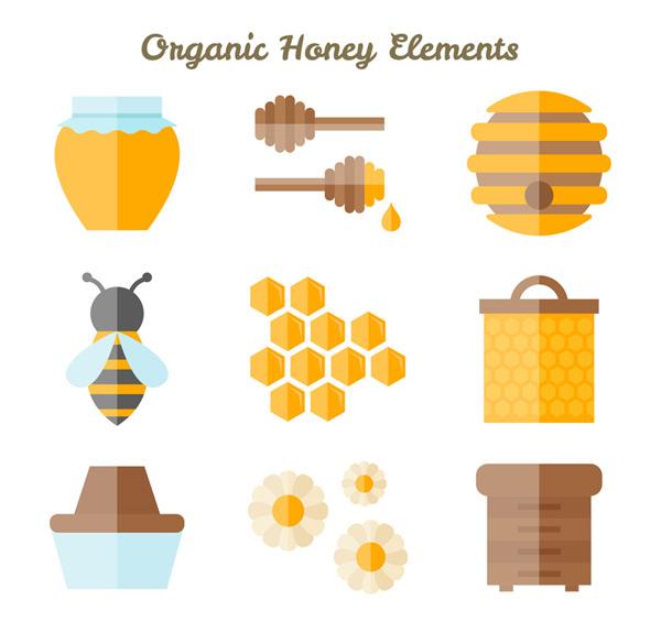 Flat honey elements Vector AI 01