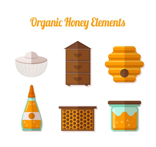 Flat honey elements Vector AI