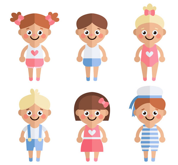 Flat smiles for children Vector AI