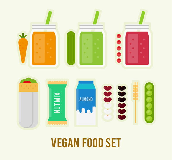 Flat vegetarian food Vector AI