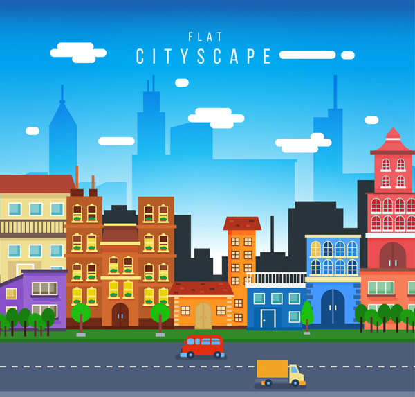 Flattened cityscapes Vector AI