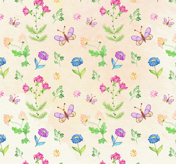 Flower and Butterfly backgrounds Vector AI