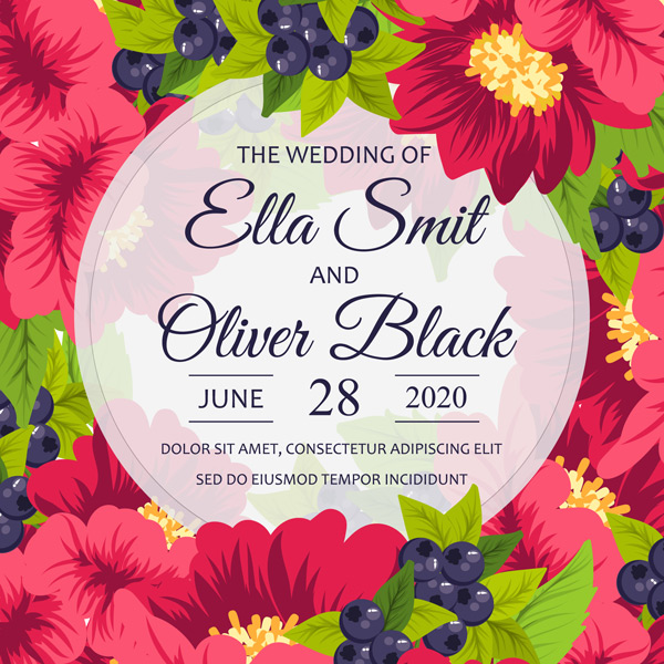 Flowers wedding cards Vector EPS