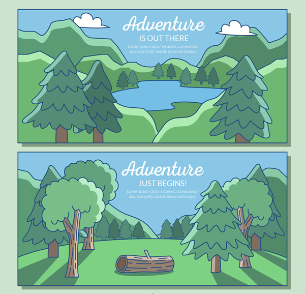 Forest and lake views Vector AI