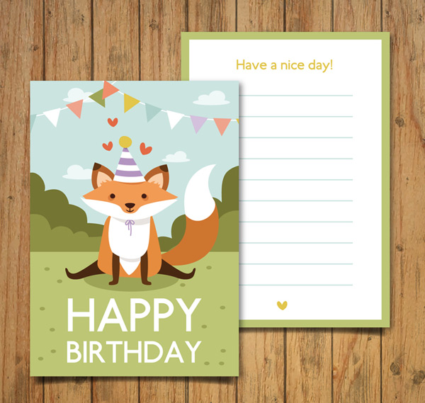 Fox birthday invitation card vector