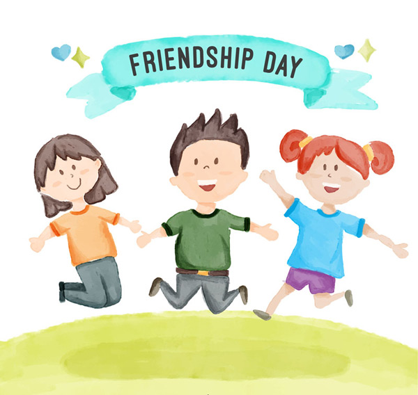 Friendship Day jumping characters vector