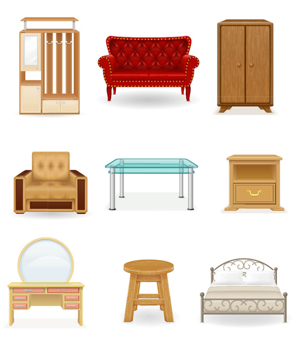 Furniture cabinets furniture Vector AI 01