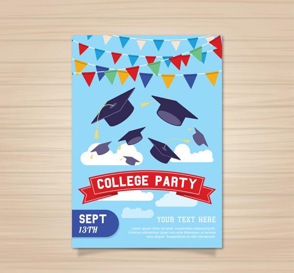 Graduation party flyers Vector AI
