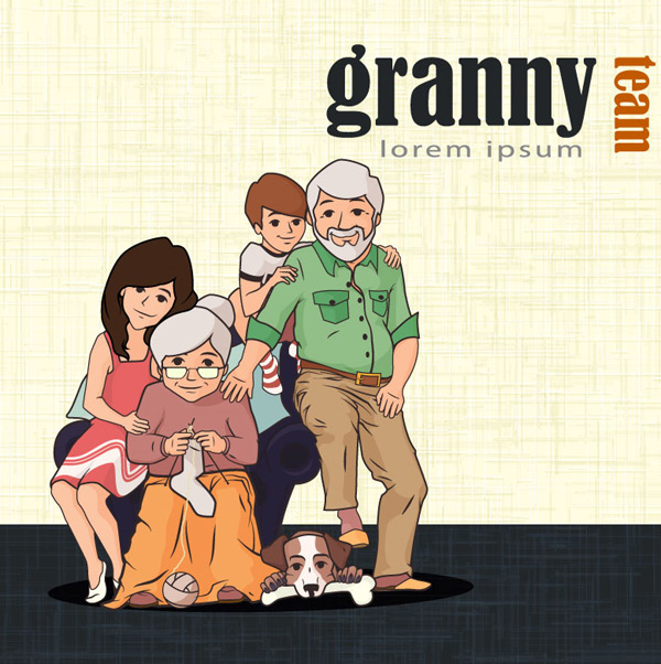 Grandparents and children Vector EPS