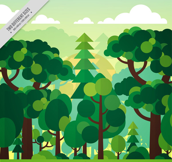 Green forest landscapes Vector AI