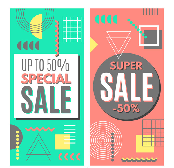 Half-price promotion banner Vector AI