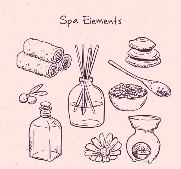 Hand-drawn elements Spa Vector AI
