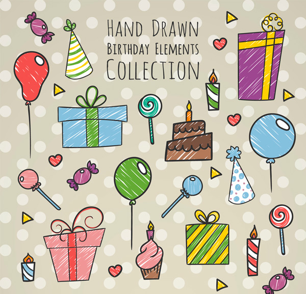 Hand painted birthday elements Vector AI