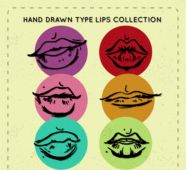 Hand-painted lip design Vector AI