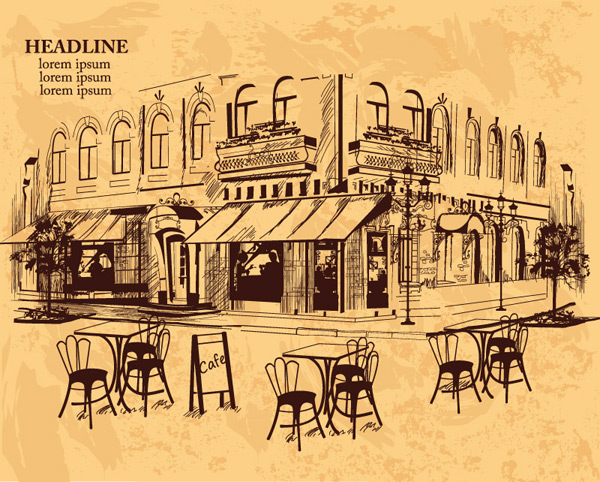 Hand-painted outdoor Cafe Vector AI