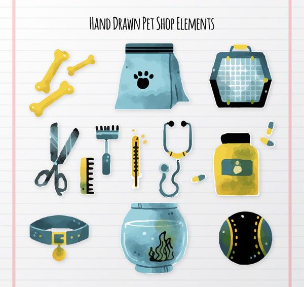 Hand-painted pet shop element Vector AI