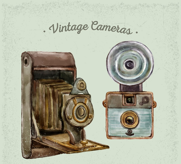 Hand-painted vintage cameras Vector AI