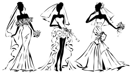 Hand-painted wedding dresses brides Vector AI