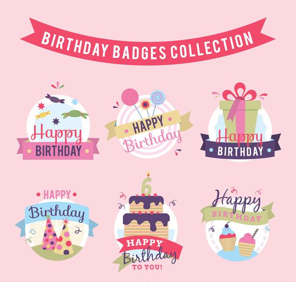 Happy birthday badge Vector AI