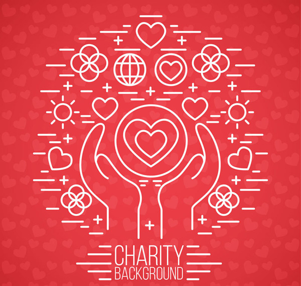 Holding charity background vector